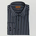 Men's Grey Striped Cotton Dress Shirt