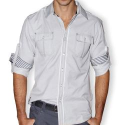 191 Unlimited Men's Grey Button-front Shirt