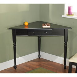 Simple Living Black Corner Desk with Turned Legs