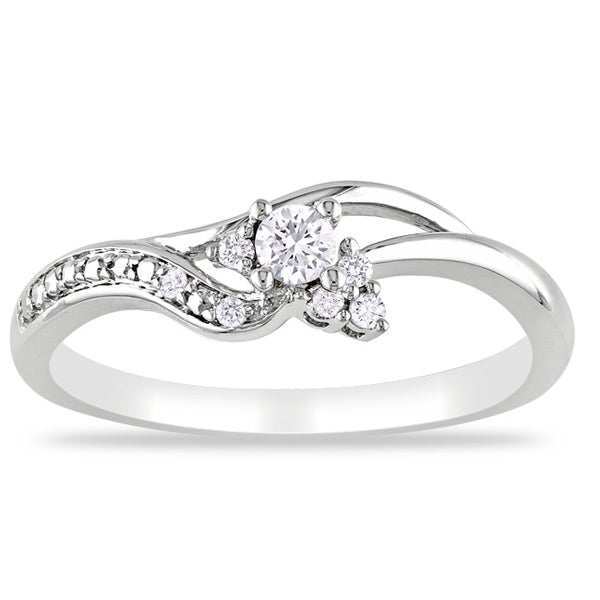 Miadora 10k White Gold 1/6ct TDW Round-cut Diamond Engagement Ring (G-H, I2-I3)