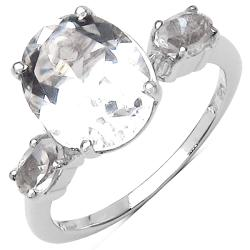 Malaika Sterling Silver Clear Crystal Quartz Ring (4 3/4ct TGW)