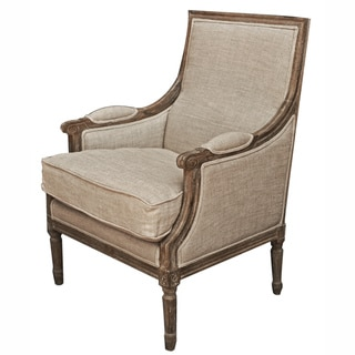 Casual Living Weathered Vintage French Upholstered Linen Wooden Arm Chair with Fluted Legs