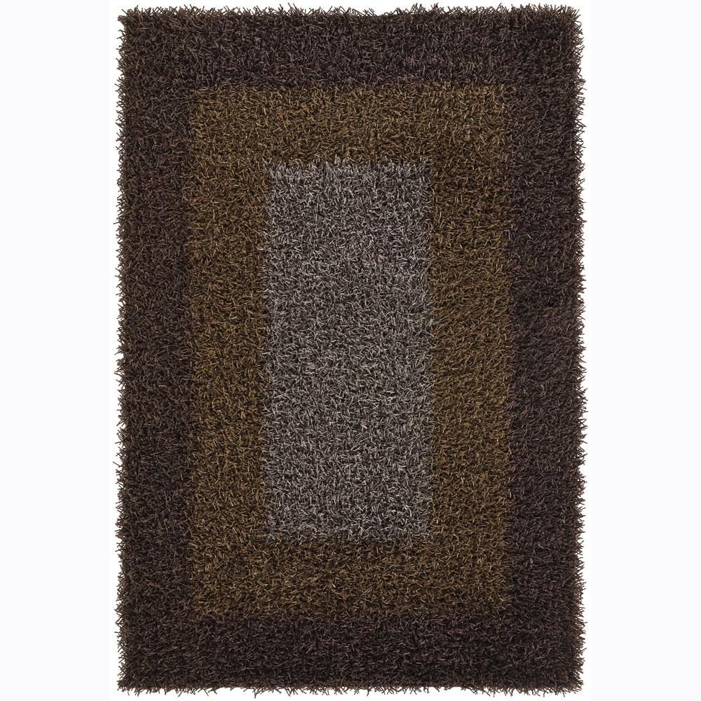 Handwoven Mandara Brown/Gold/Taupe Shag Rug (5' x 7'6)