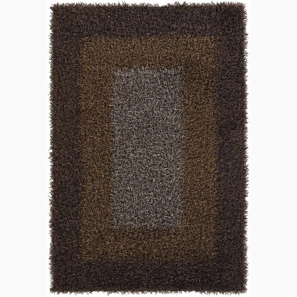 Handwoven Mandara Brown/Green/Taupe Shag Rug (7'9 x 10'6)