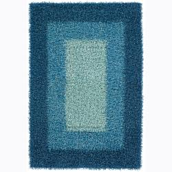 Handwoven Mandara Blue Art Silk Shag Rug (7'9