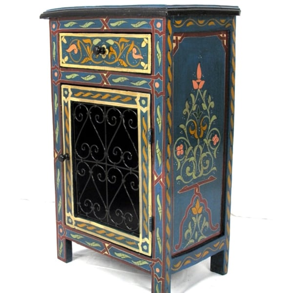 Handpainted Green Arabesque Wooden Storage/End Table (Morocco)