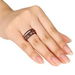 M by Miadora Pink Silver 1/4ct TDW Black Diamond  Ring