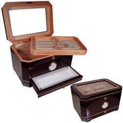 Cuban Crafters Premium Glass Top Humidor with Ashtray Set