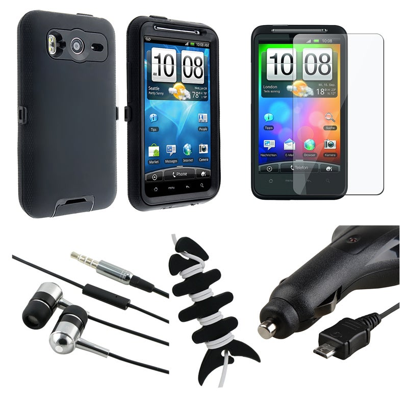 Black Case/ Screen Protector/ Headset/ Wrap for HTC Desire HD