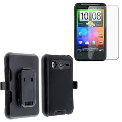 INSTEN Blue/ Black Hybrid Phone Case Cover/ Screen Protector for HTC Desire HD