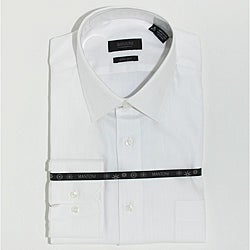 Mantoni Men's White Herringbone Fine Cotton Shirt