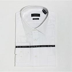 Mantoni Men's White Fine Solid Twill Cotton Shirt