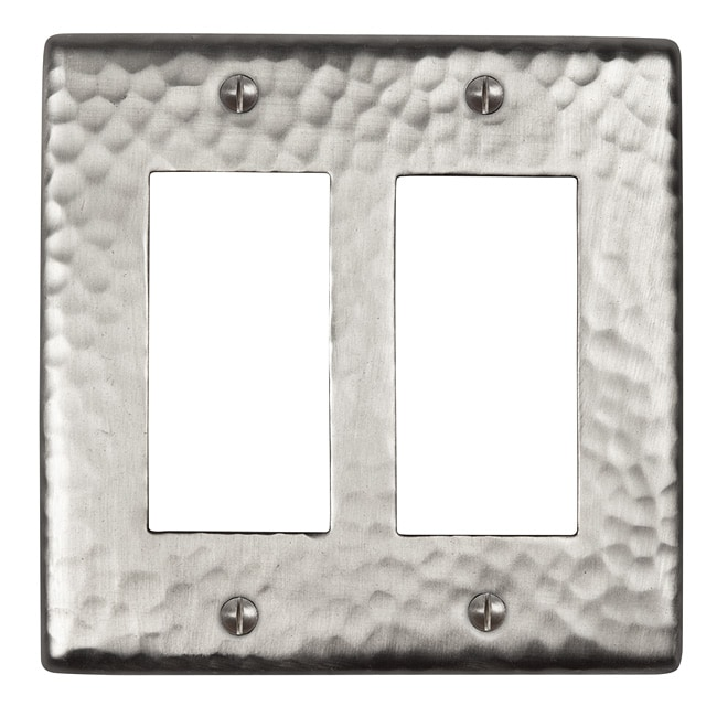 satin nickel finish solid copper double gfi switch plate. Black Bedroom Furniture Sets. Home Design Ideas