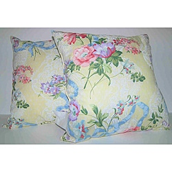 RLF Home Yellow Ribbons and Roses Decorative Pillows (Set of 2)