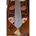 RLF Home Ashton Peony Espresso Tasseled Table Runner