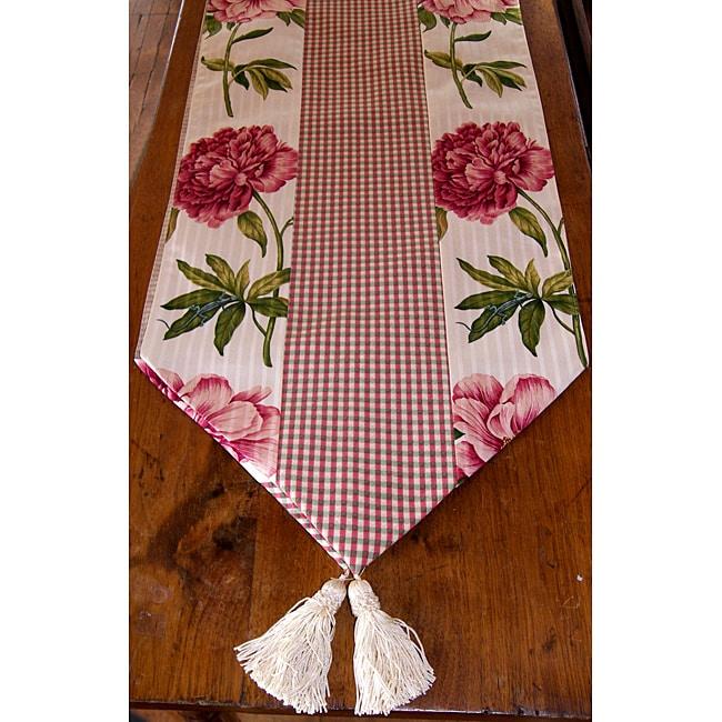 RLF Home Ashton Peony Raspberry Tasseled Table Runner