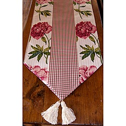 RLF Home Ashton Peony Raspberry Tasseled Table Runner