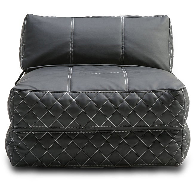 black bean bag chair bed seat furniture seating love sac large dorm leather room ebay. Black Bedroom Furniture Sets. Home Design Ideas