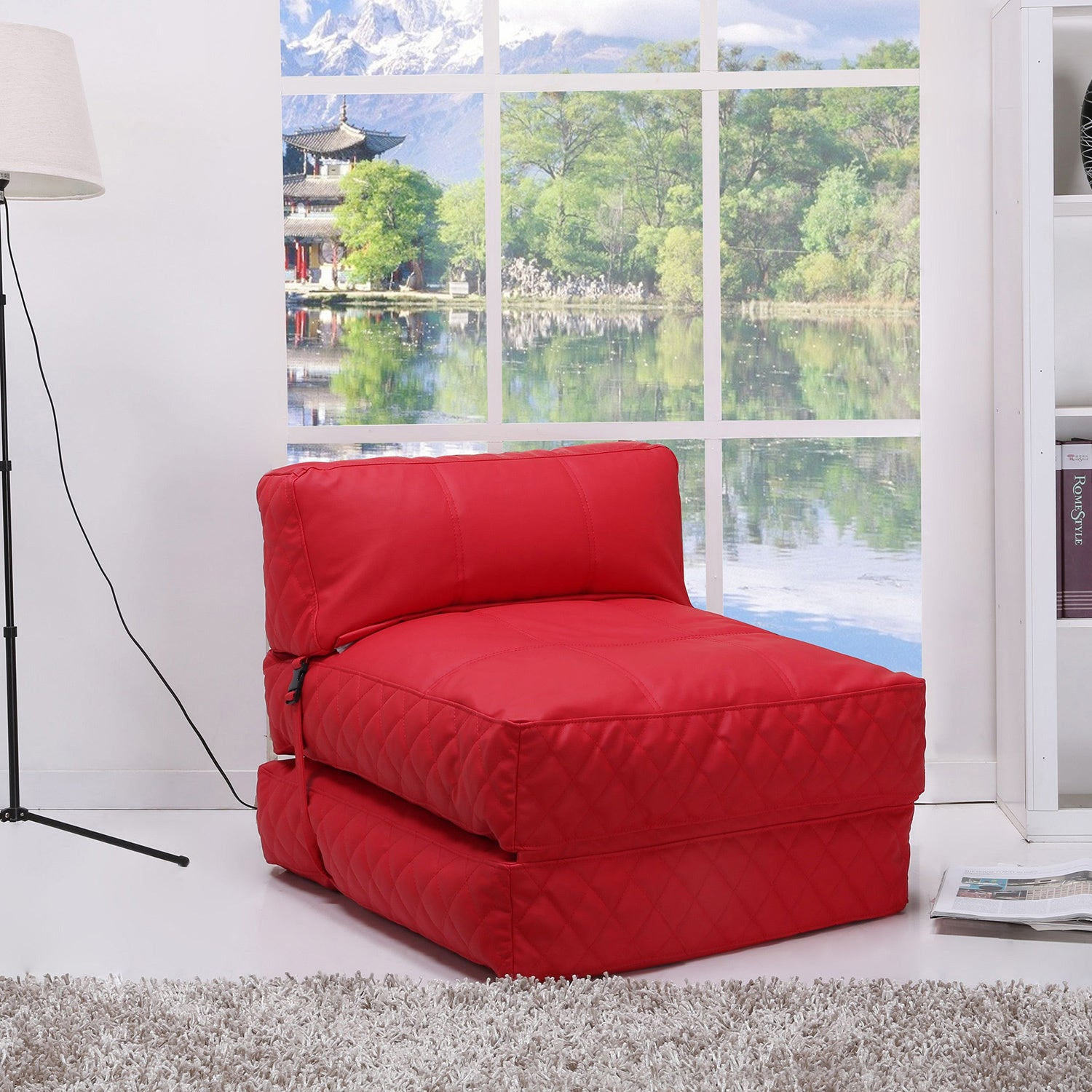 austin red bean bag chair bed overstock shopping big discounts on bean lounge bags. Black Bedroom Furniture Sets. Home Design Ideas