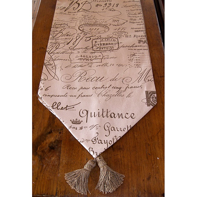 RLF Home French Script Tasseled Table Runner