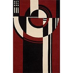 "Modern Art Red Hand-Tufted Wool Rug (3'6"" x 5'6"")"