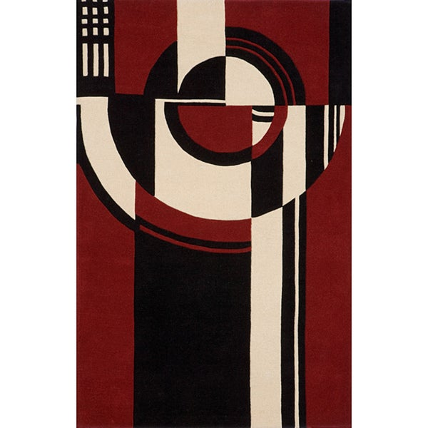Modern Art Red Hand-Tufted Wool Rug (8' x 10')