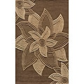 Hand-tufted Lotus Mocha Wool Rug (5' x 8')