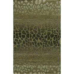 Hand-tufted Metropolitan Stones Green Wool Rug (5' x 8')