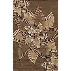 Hand-tufted Lotus Mocha Wool Rug (3'6 x 5'6)