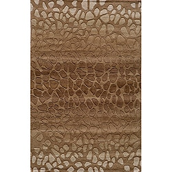 Hand-tufted Metropolitan Stones Brown Wool Rug (8' x 10')