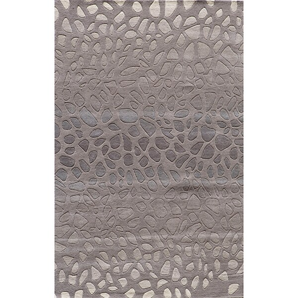 """Ombre Stones Silver Hand-Tufted Wool Rug (3'6"""" x 5'6"""")"""