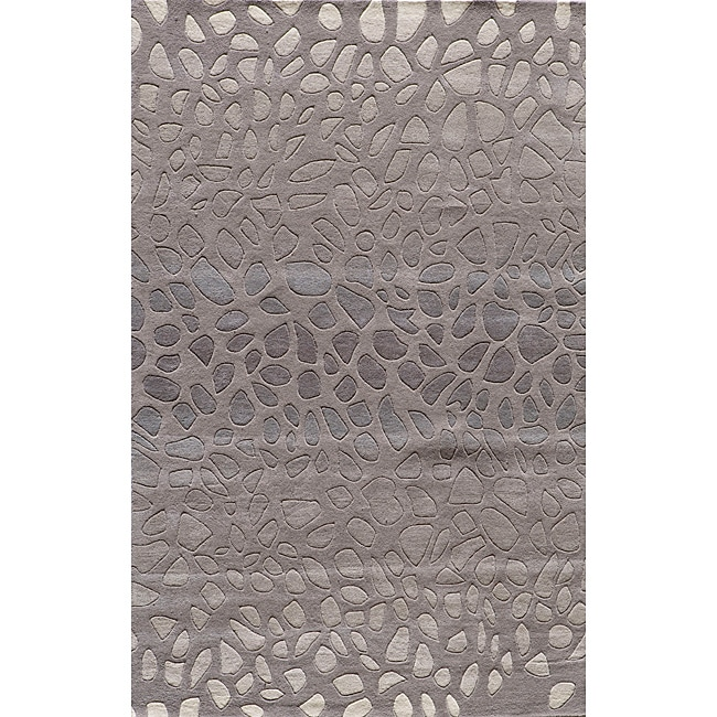 Ombre Stones Silver Hand-Tufted Wool Rug (5' x 8')
