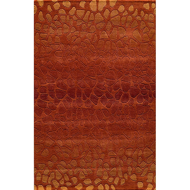 Ombre Stones Paprika Hand-Tufted Wool Rug (5' x 8')