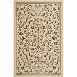 "Outdoor Natural/Chocolate Polypropylene Rug Set (6'6"" x 9'6"" and 1'8"" x 2'8"")"