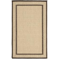 Outdoor Natural/ Chocolate Rug Set (6'6 x 9'6 and 1'8 x 2'8)