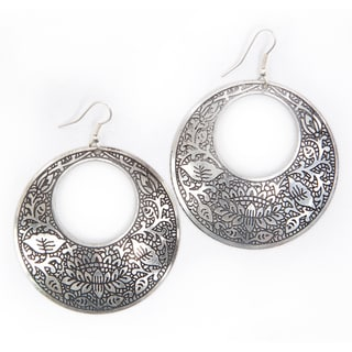 Brass Impression Hoop Earrings (India)