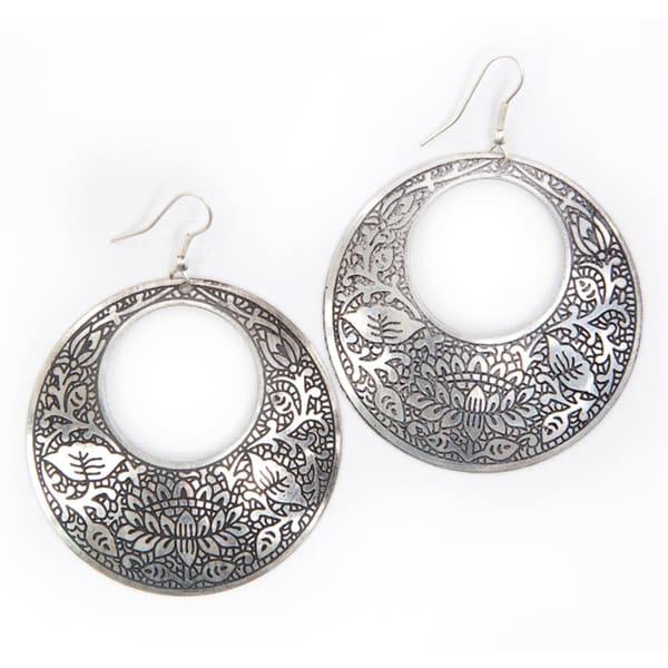 Brass Impression Hoop Earrings (India)