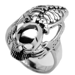Oliveti Stainless Steel Men's Skull and Skeleton Biker Ring