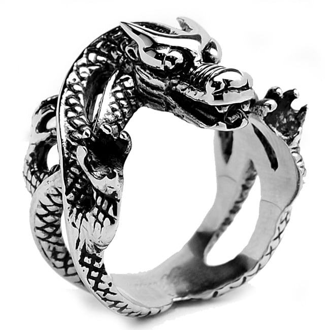 Oliveti Stainless Steel Men's Biker Dragon Ring