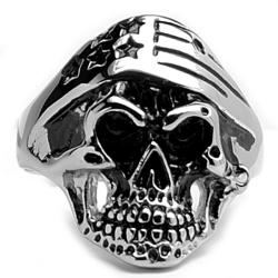 Oliveti Stainless Steel Men's Skull and Flag Bandana Ring