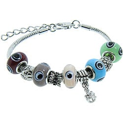 Eternally Haute Silver Overlay Murano-style Glass Evil Eye Multicolored Charm Bracelet