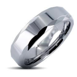 Men's Tungsten Carbide Multi-faceted Edged Prism Design Ring (8 mm)