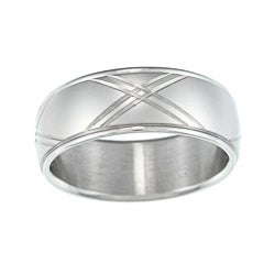 Satin-Finish Stainless-Steel Diamond-Cut Wedding Band