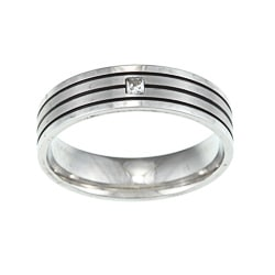 Princess-Cut Cubic Zirconia Stainless-Steel Wedding Band