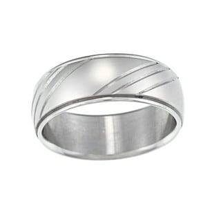 Stainless Steel Diamond Cut Wedding Band