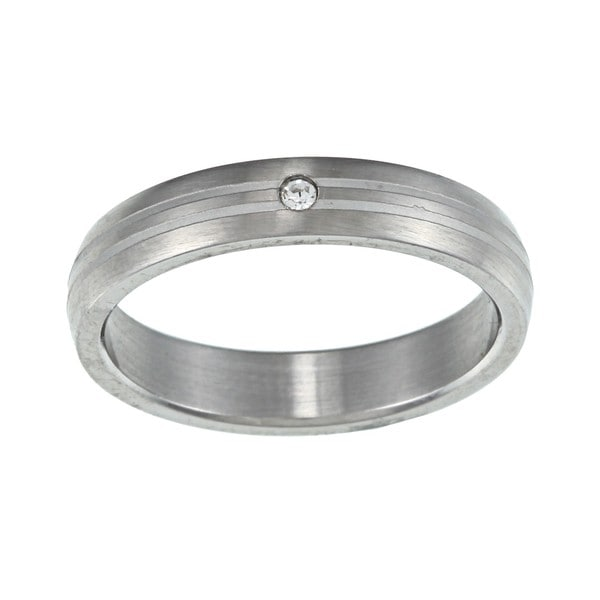 Stainless Steel Cubic Zirconia Wedding Band