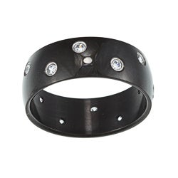 Black Stainless Steel Cubic Zirconia Ring