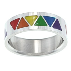 High-polish Stainless Steel Rainbow-colored Enamel Triangle Ring