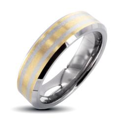 Tungsten Carbide Gold Laser-etched Double Stripe Ring