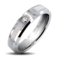 Tungsten Carbide Cubic Zirconia Brushed Center Ring